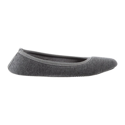 Women's Heathered Jersey Jillian Ballerina Slippers Grey Profile