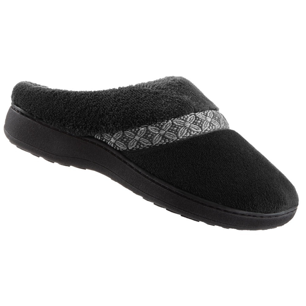 Women's Microterry Jenna Hoodback Slippers in Black Right angled view