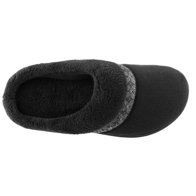 Women's Microterry Jenna Hoodback Slippers in Black Inside Top View