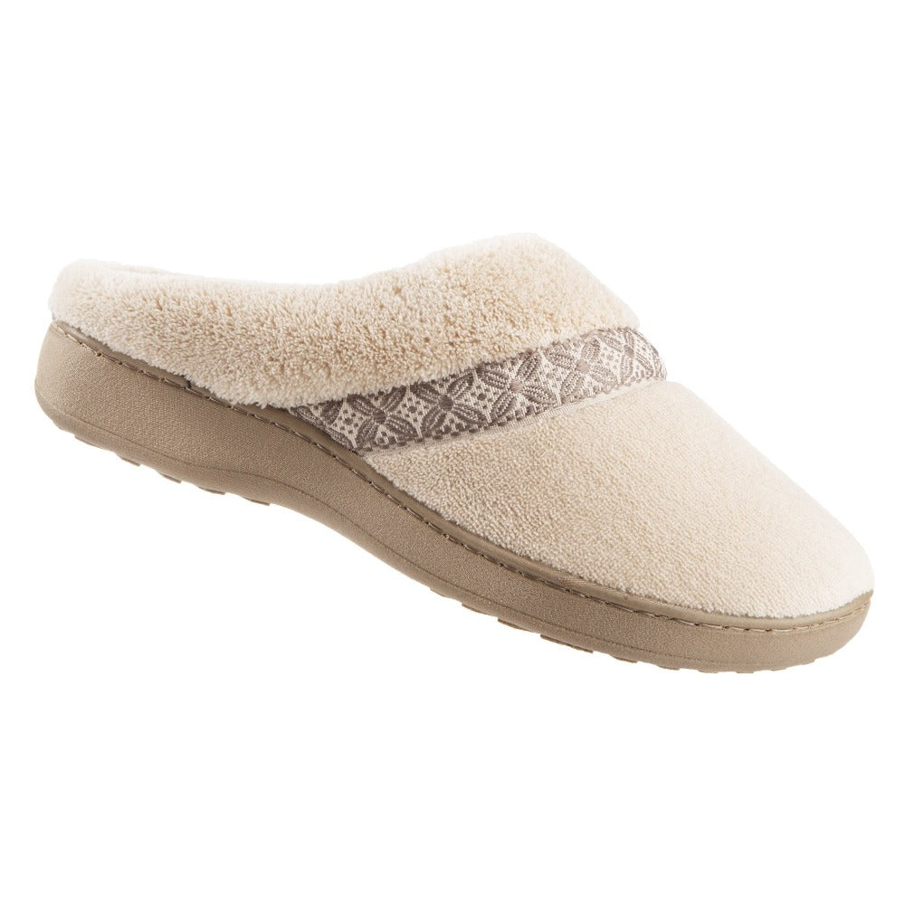 Women's Microterry Jenna Hoodback Slippers in Sandtrap Right angled view