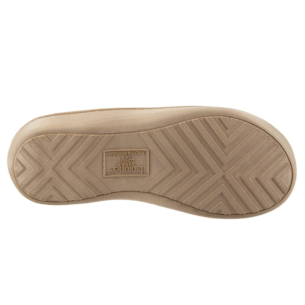Women's Microterry Jenna Hoodback Slippers in Sandtrap Bottom Sole Tread