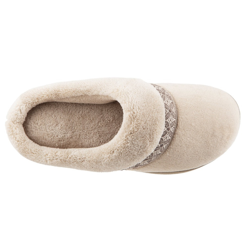 Women's Microterry Jenna Hoodback Slippers in Sandtrap Inside Top View