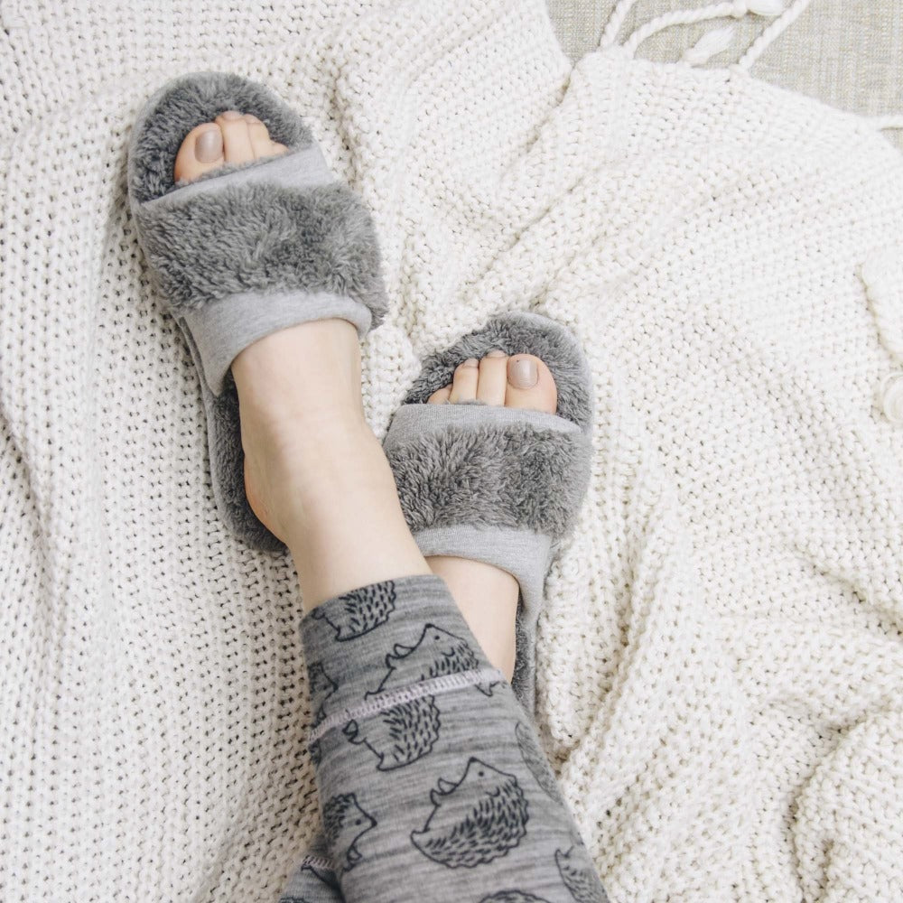 Women's Linley Jersey and Chenille Slide Slippers in Ash On Model in Pajamas with Cozy Blankets