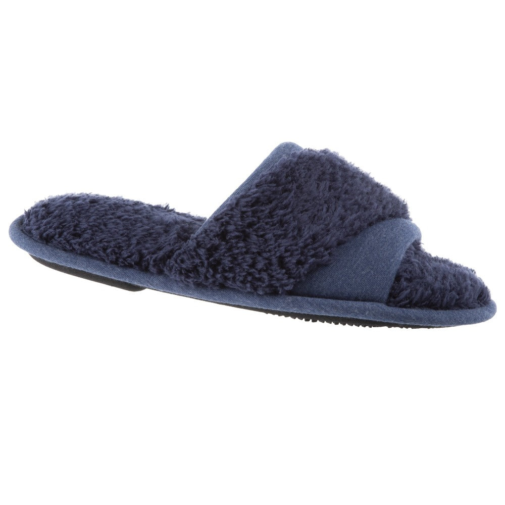 Women's Linley Jersey and Chenille Slide Slippers in Navy Blue Right Angled View
