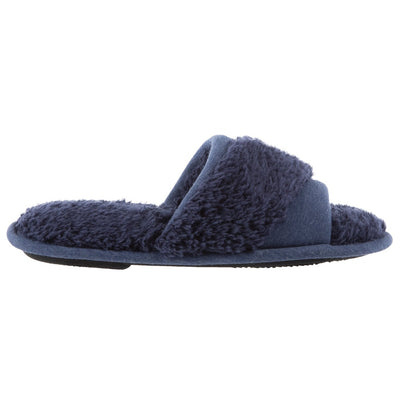 Women's Linley Jersey and Chenille Slide Slippers in Navy Blue Profile