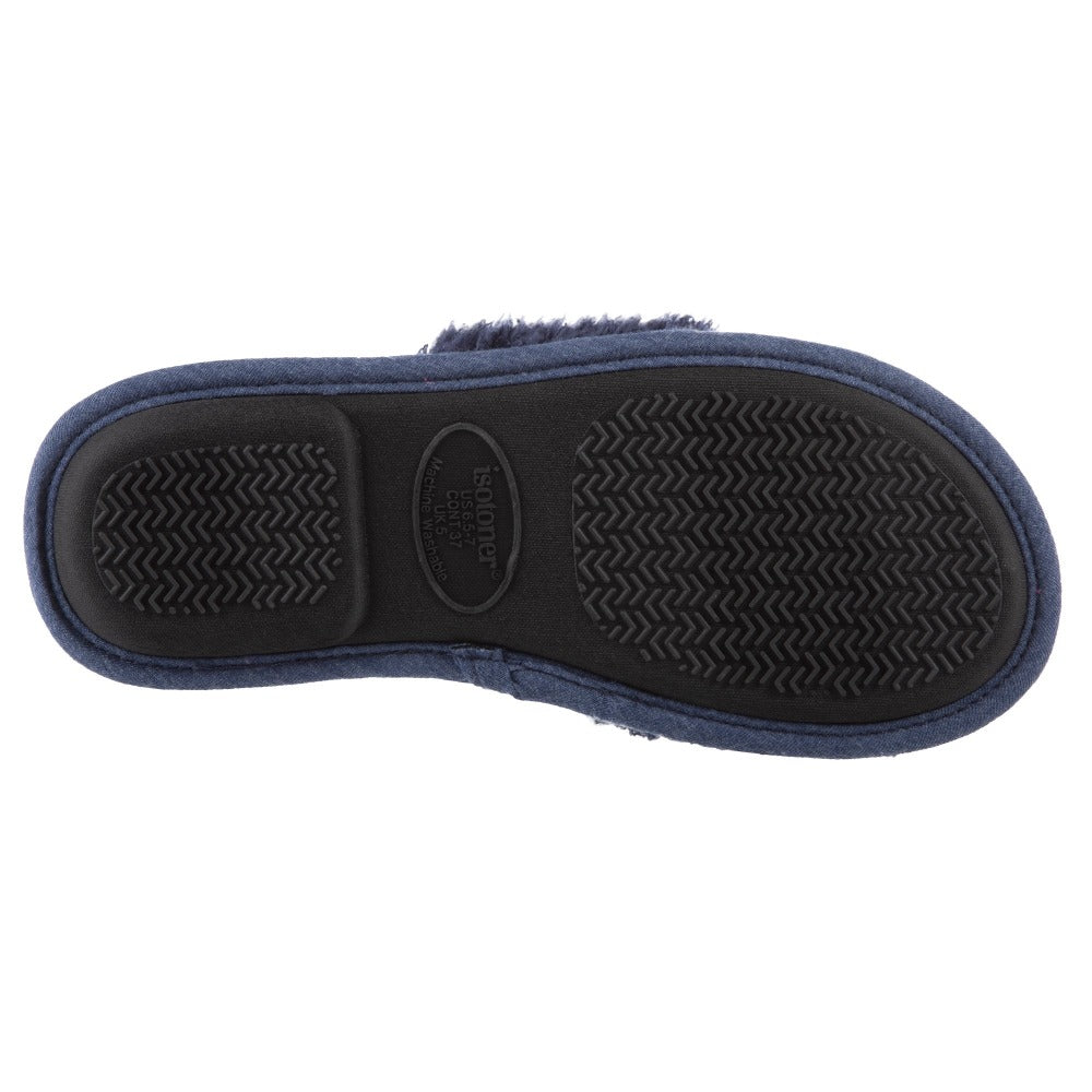 Women's Linley Jersey and Chenille Slide Slippers in Navy Blue Bottom Sole Tread