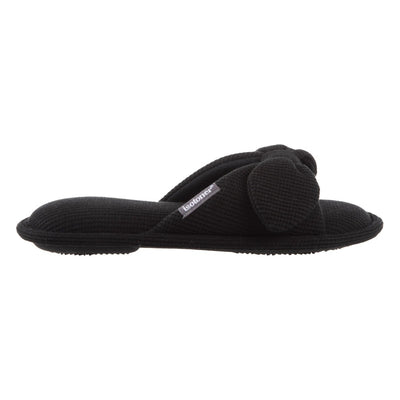 Women's Waffle Knit Dani Slide Slippers in Black Profile View