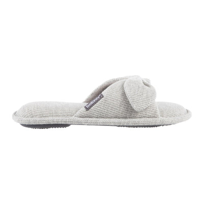 Women's Waffle Knit Dani Slide Slippers in Heather Grey Profile View