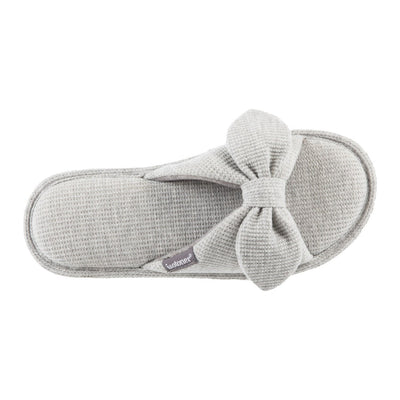 Women's Waffle Knit Dani Slide Slippers in Heather Grey Top View
