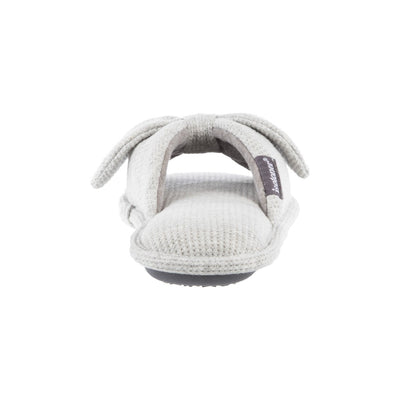 Women's Waffle Knit Dani Slide Slippers in Heather Grey Heel View