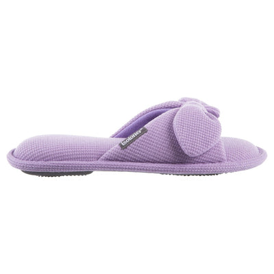 Women's Waffle Knit Dani Slide Slippers in Iris (Purple) Profile View
