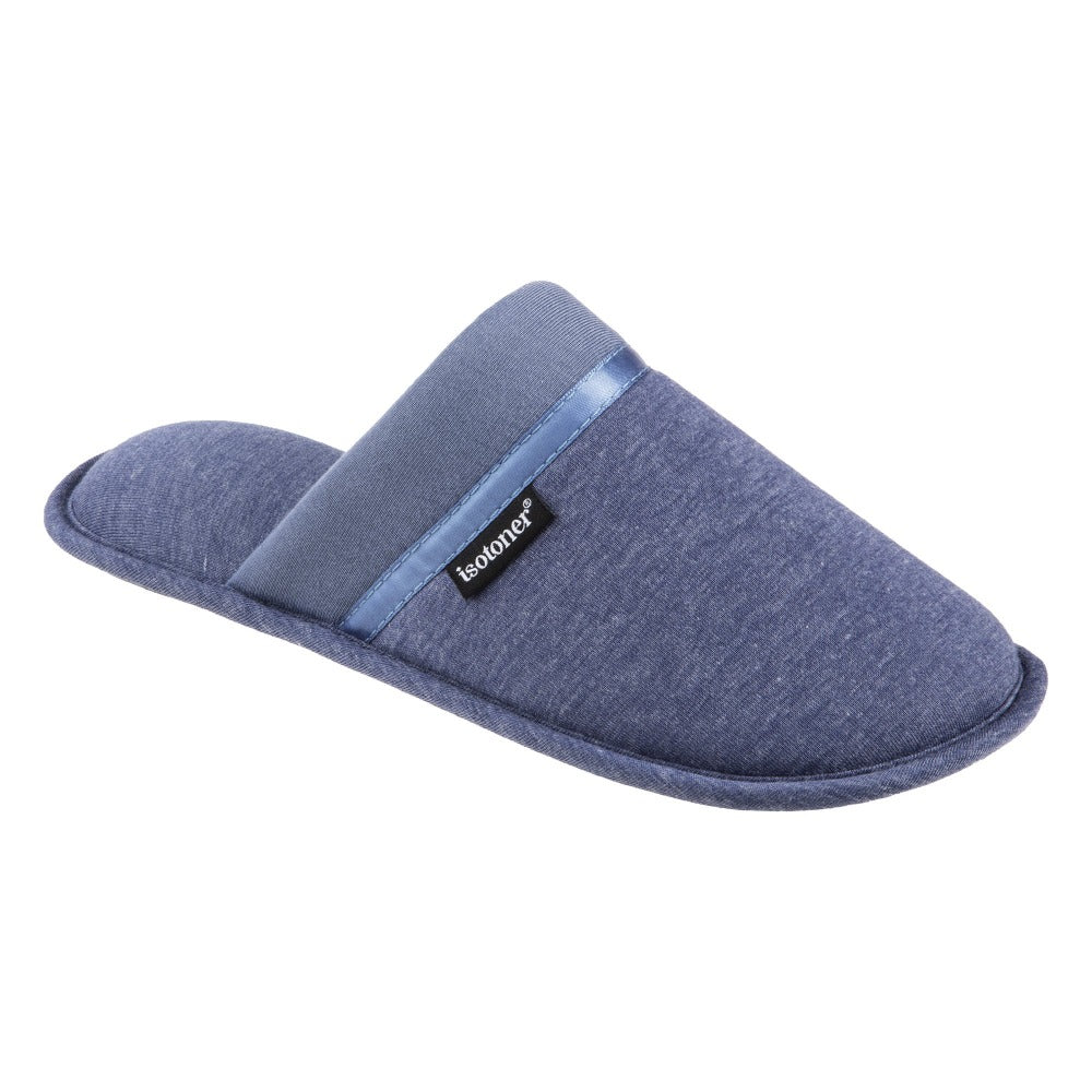 Women's Jersey Cambell Clog Slippers in Navy Blue Right Angled View