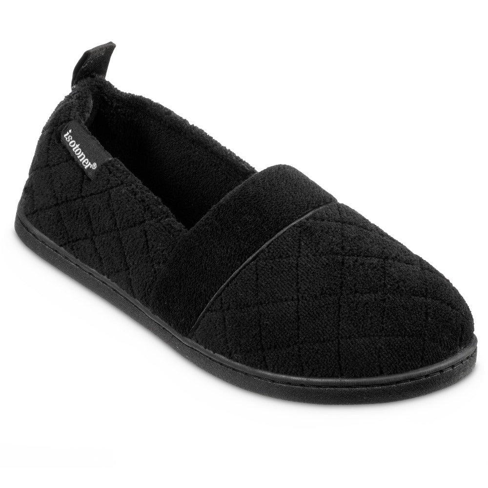 Women's Quilted Microterry Closed Back Slippers in Black Right Angled View