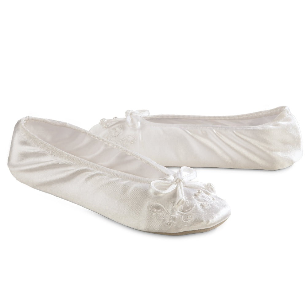 Women's Embroidered Pearl Satin Ballerina Slippers Pair in White Right Angled View