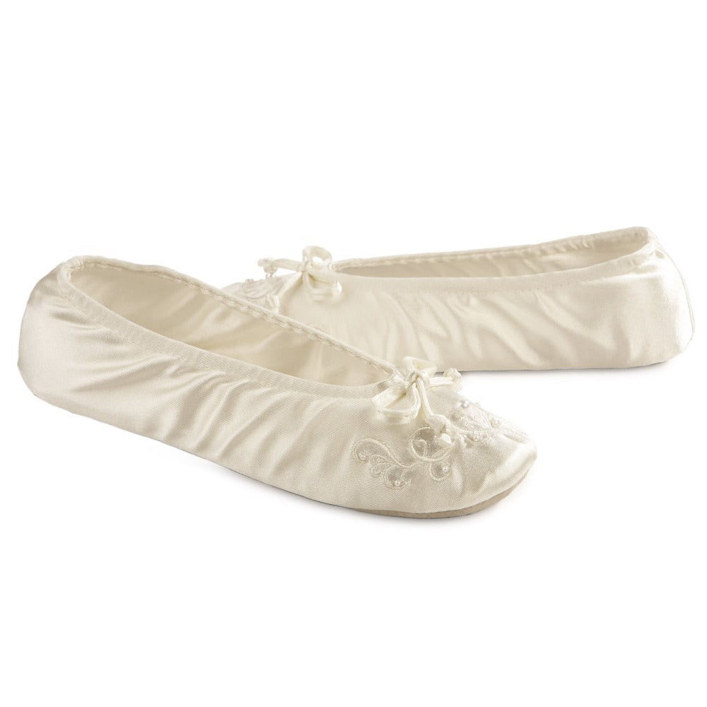 Women's Embroidered Pearl Satin Ballerina Slippers Pair in Ivory Right Angled View