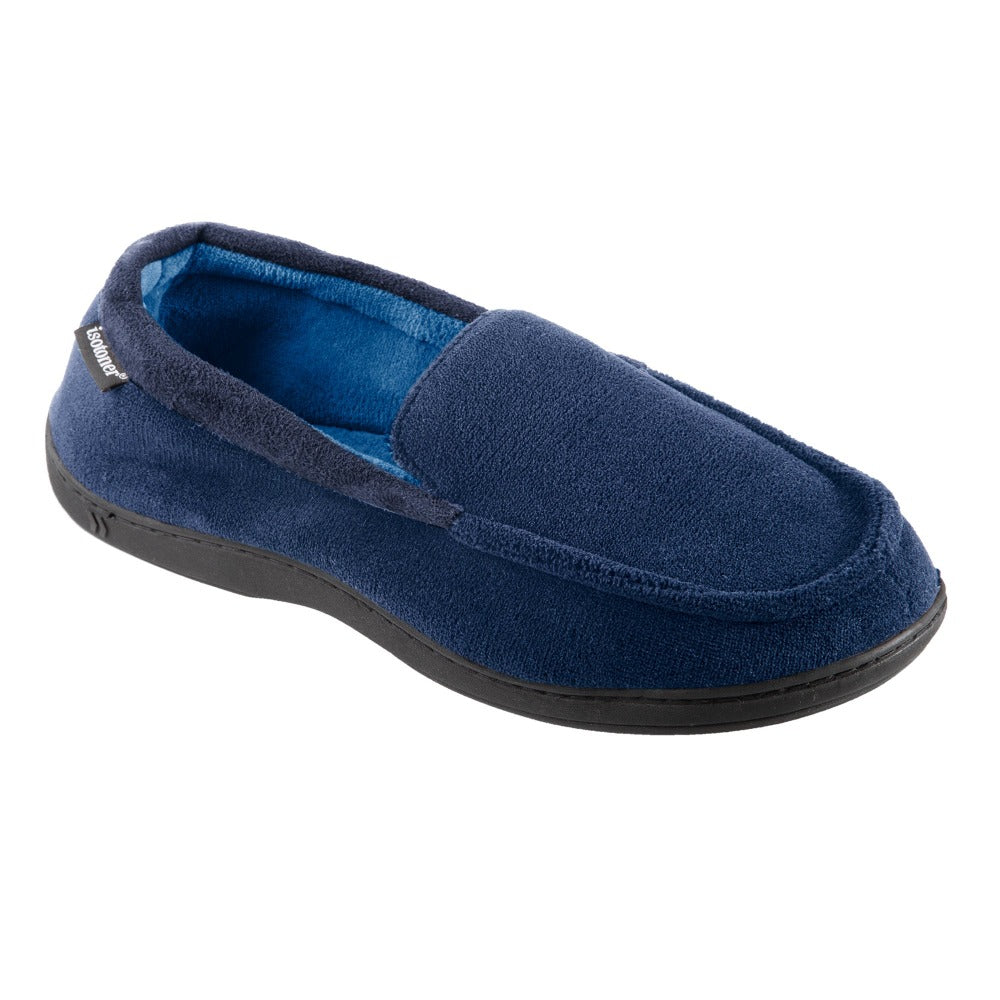 Men's Microterry Jared Moccasin Slippers in Navy Blue Right Angled View