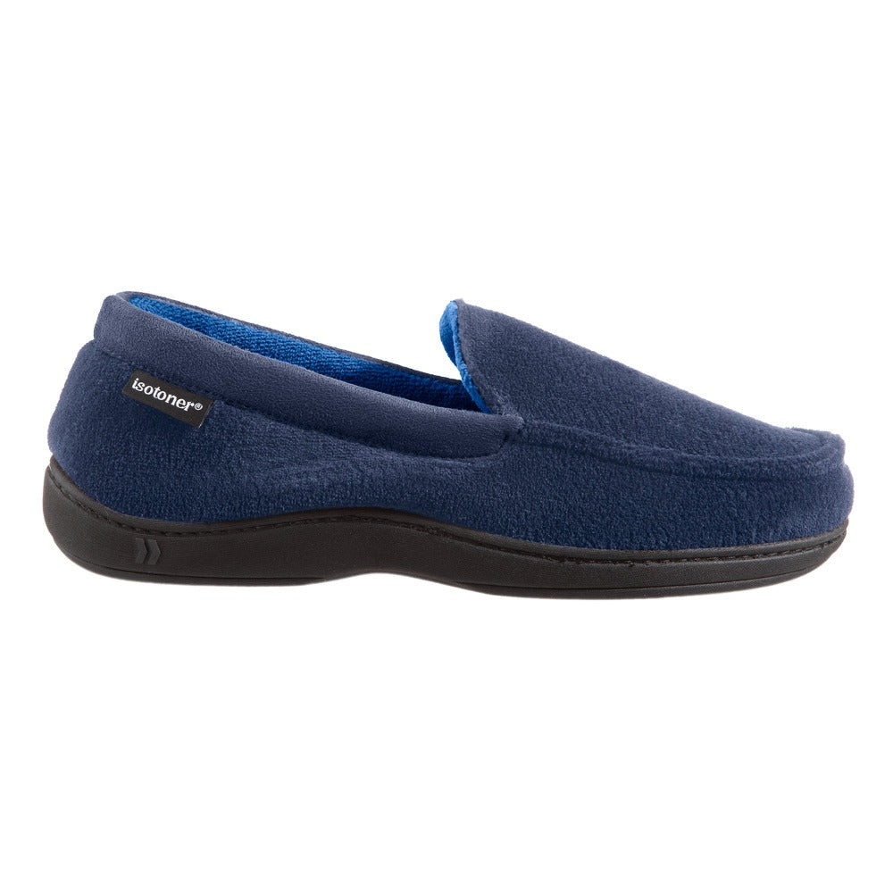 Men's Microterry Jared Moccasin Slippers in Navy Blue Profile