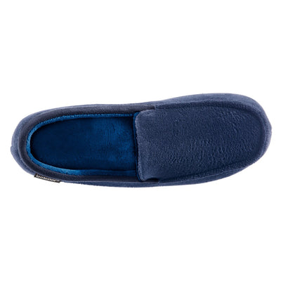 Men's Microterry Jared Moccasin Slippers in Navy Blue Inside Top View