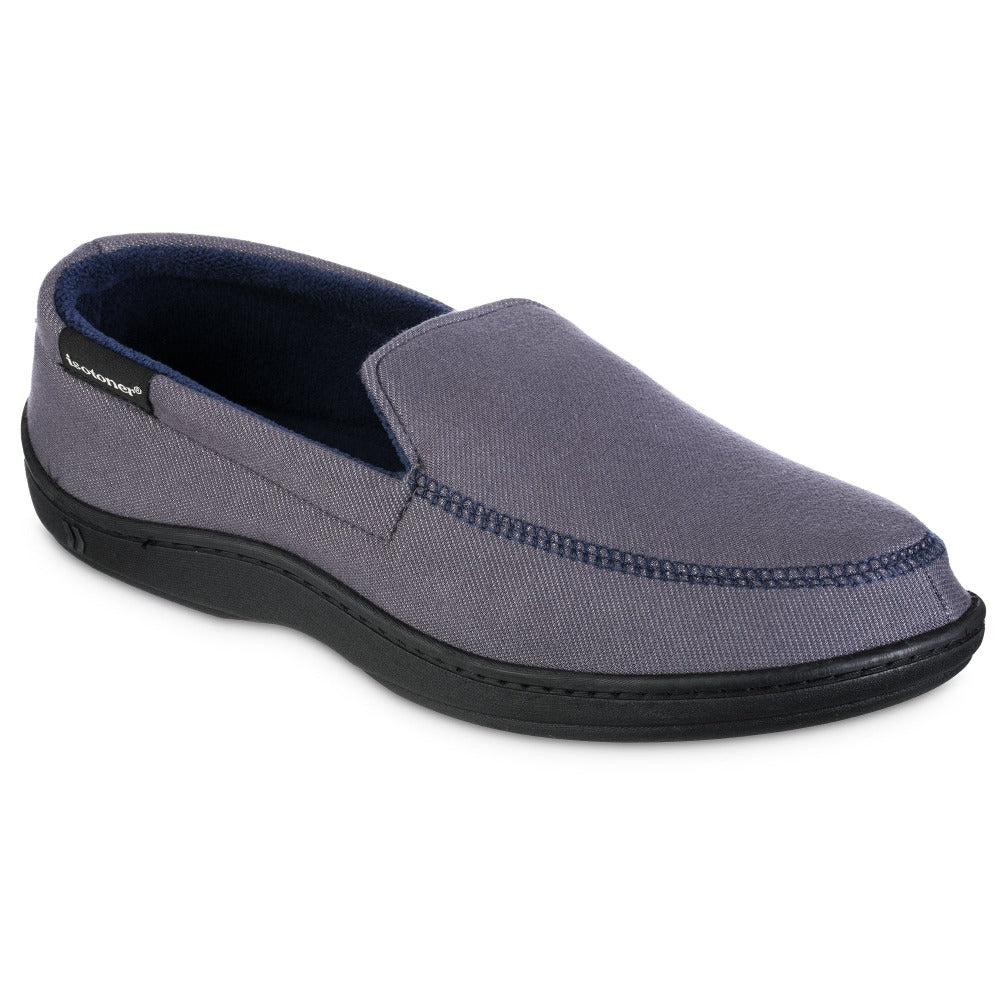 Men's Knit Twill Chandler Moccasin Slippers in Ash Right Angled View