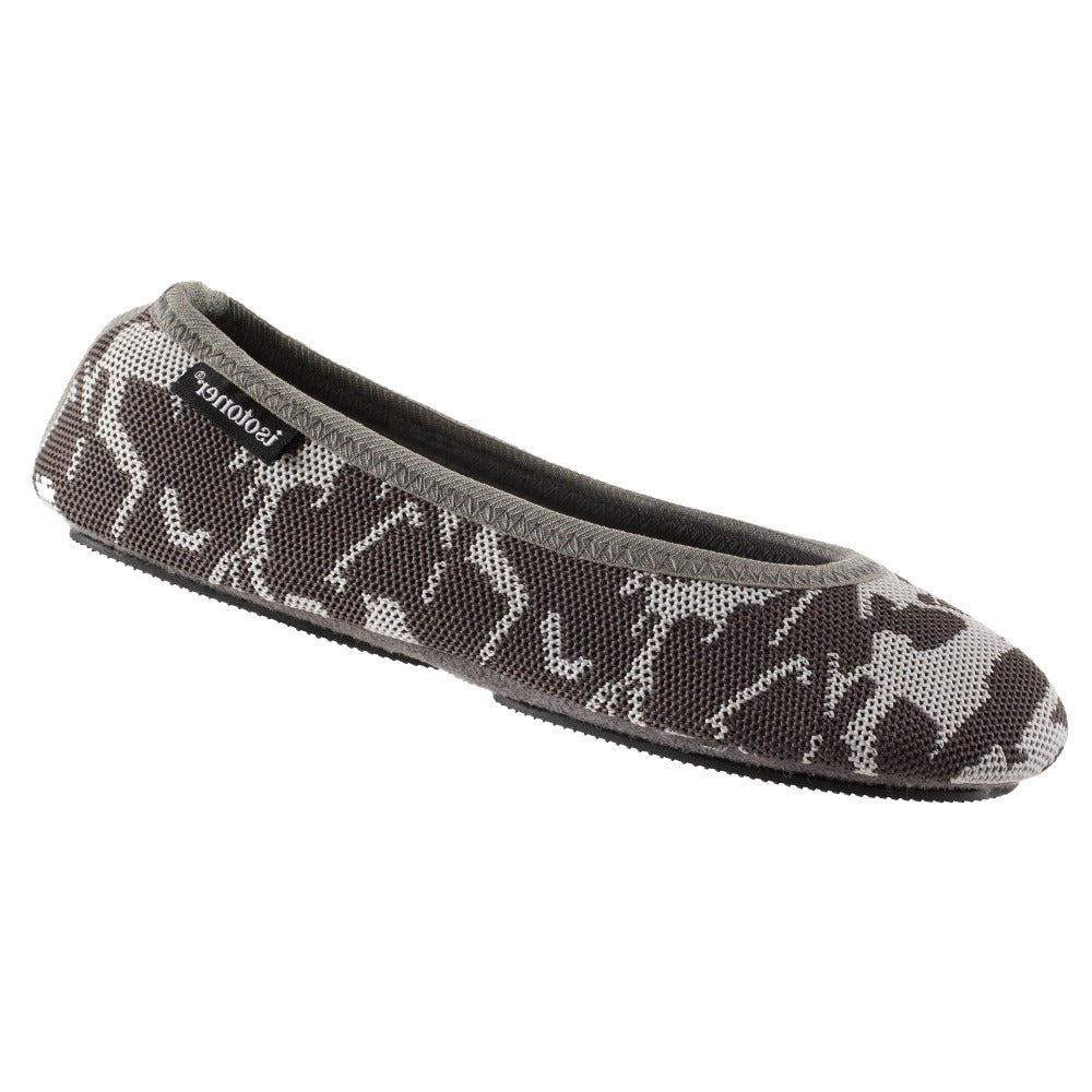 Women's Paris Travel Ballerina Slippers in Ash Geo Print right angled view