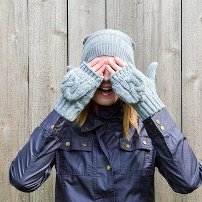 Women's Chunky Cable Knit Flip-Top Mittens in Heather (Grey) on Model
