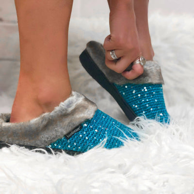 Women's Sequined Sweater Knit Hoodback Slippers