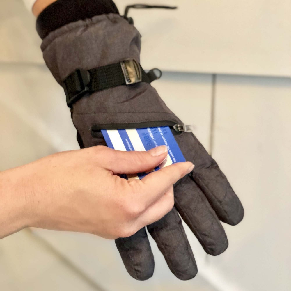 Women's Ski Gloves in Black Model Showing Pocket use