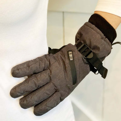 Women's Ski Gloves in Heather(Grey) on Model