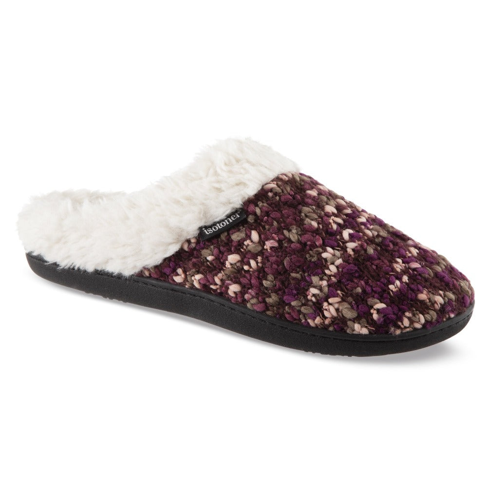 Women's Sweater Knit Amanda Hoodback Slippers in Henna (Maroon) Right Angled View