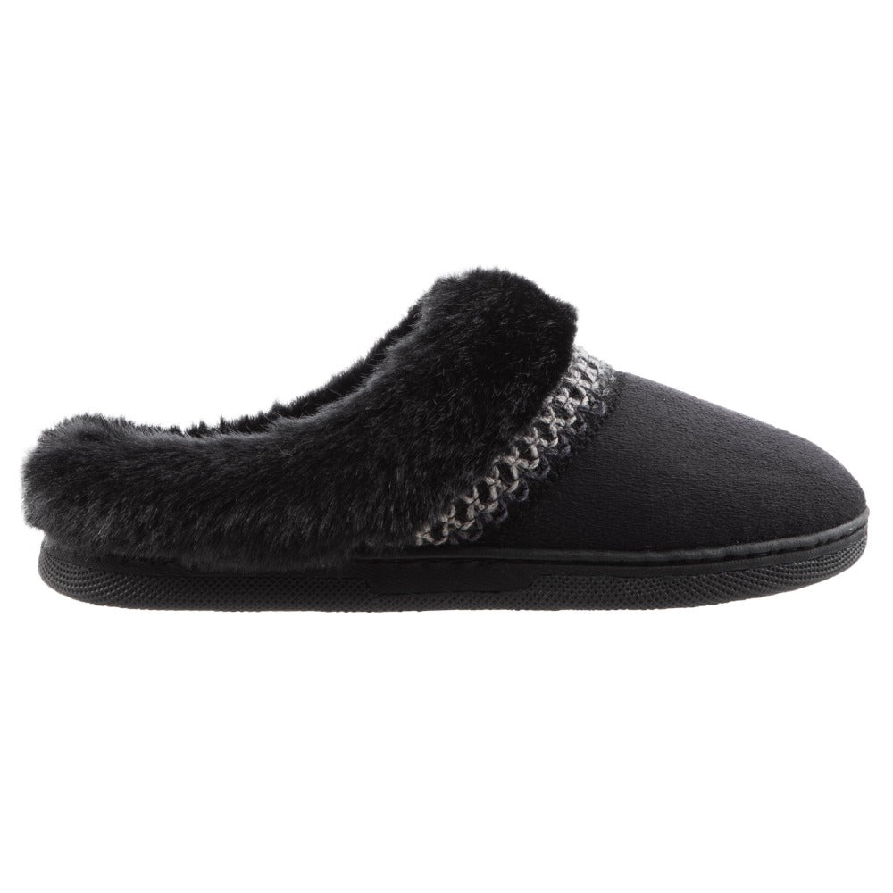 Girl's Wendi Hoodback Slippers in Black Side Profile View