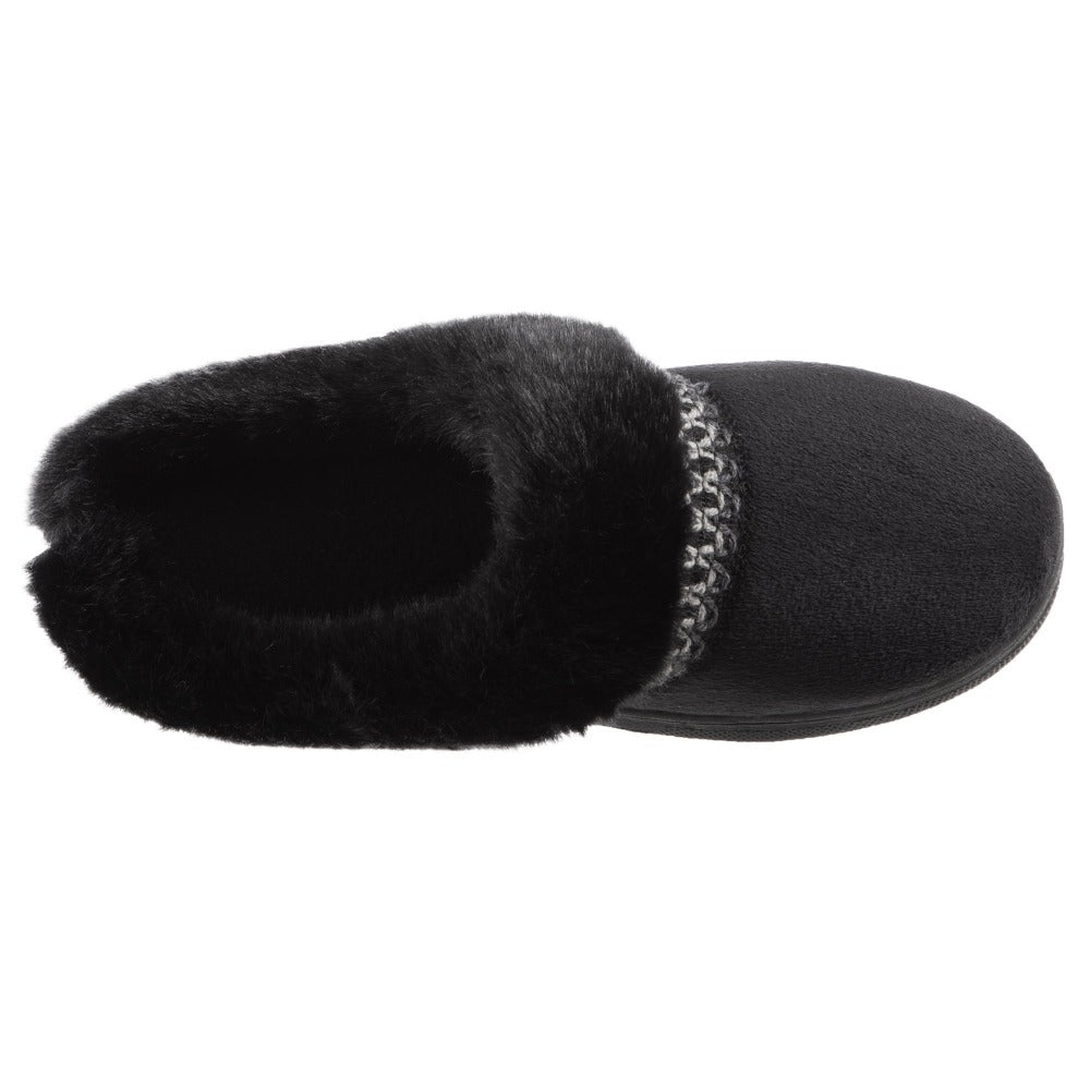 Girl's Wendi Hoodback Slippers in Black Top View