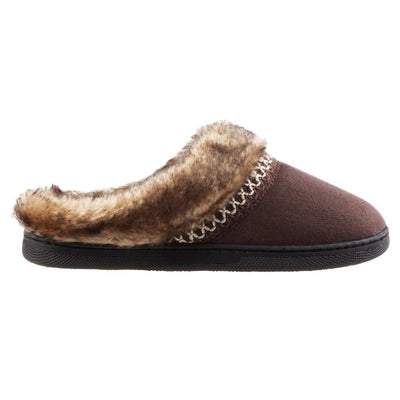 Girl's Wendi Hoodback Slippers in Dark Chocolate (Brown) Side View