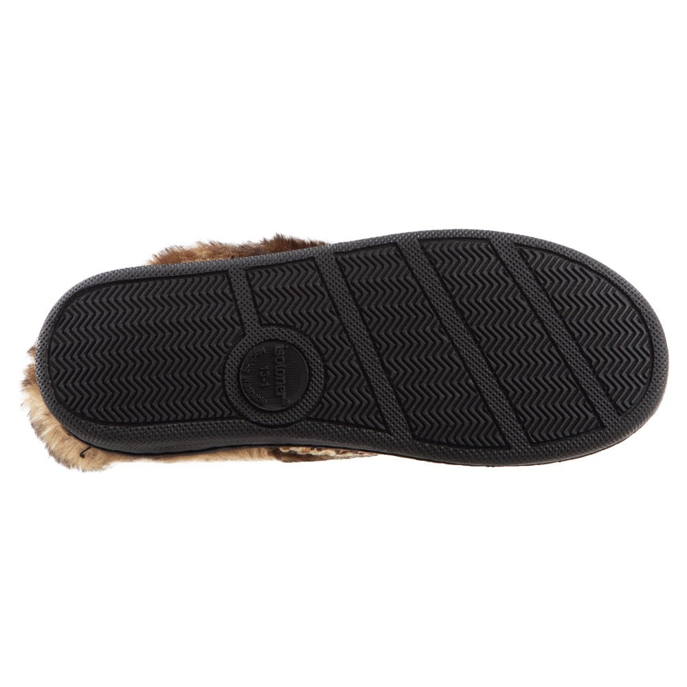 Girl's Wendi Hoodback Slippers in Buckskin (Tan) Bottom Sole Tread
