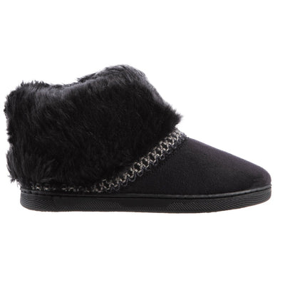 Girl's Wendi Boot Slippers in Black Side Profile
