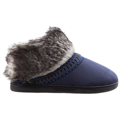 Girl's Wendi Boot Slippers in Navy Side Profile