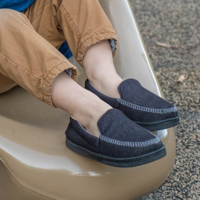 Boy's Chandler Moccasin Slippers Black on Model