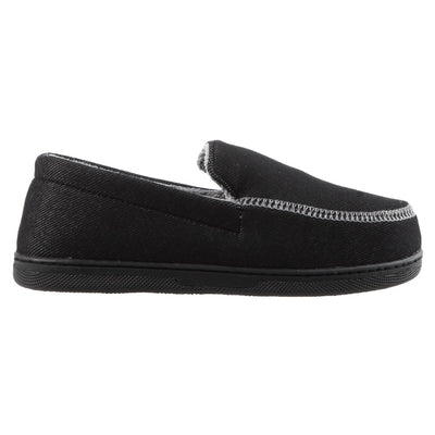 Boy's Chandler Moccasin Slippers in Black Profile