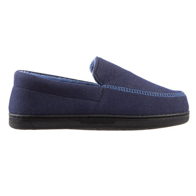 Boy's Chandler Moccasin Slippers in Navy Blue Profile