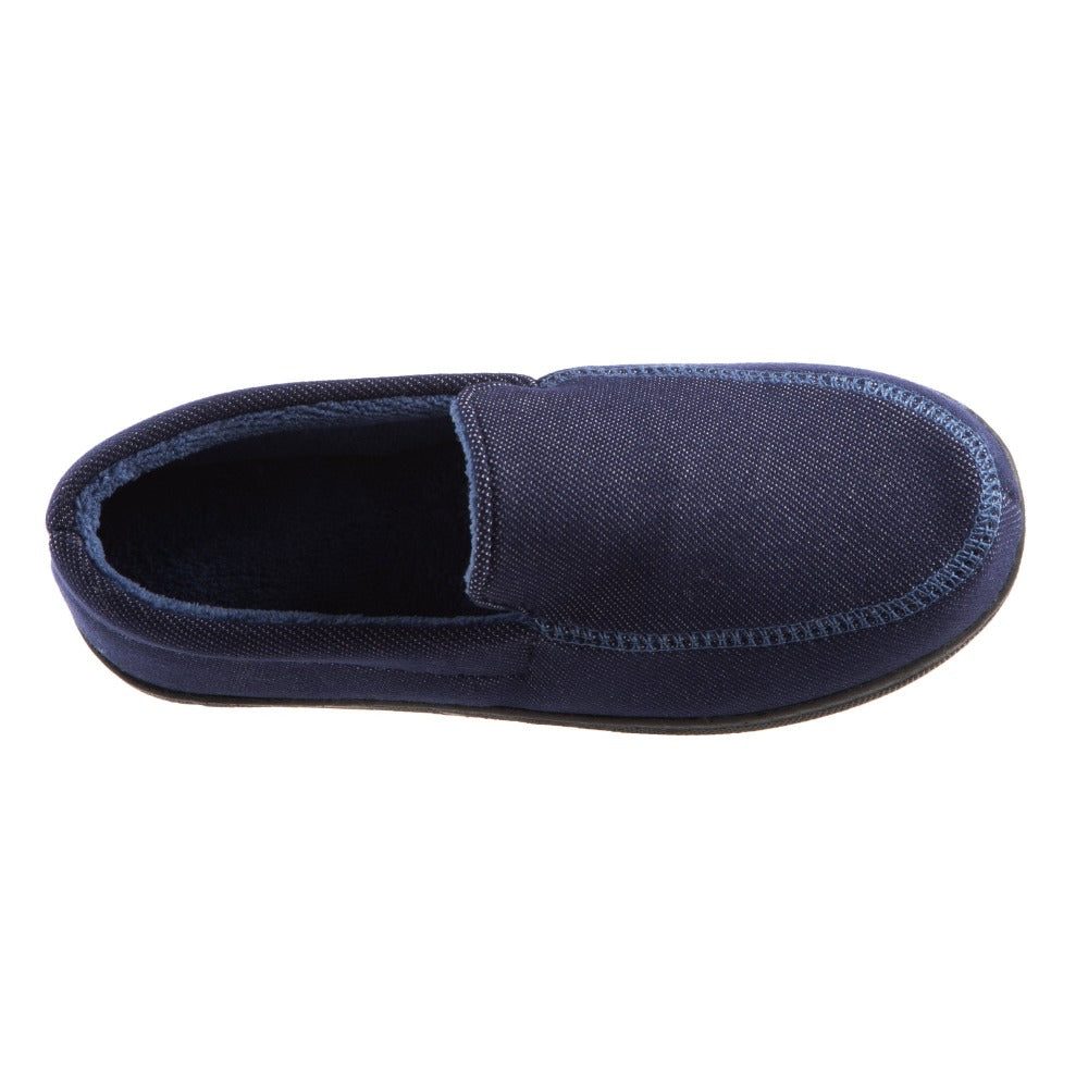 Boy's Chandler Moccasin Slippers in Navy Blue Inside Top View