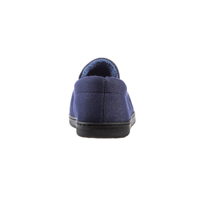 Boy's Chandler Moccasin Slippers in Navy Blue Back Heel