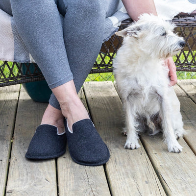 Women's Summer Woolen Randi Clog Slipper in Black on model sitting on a bench outside with adorable white dog