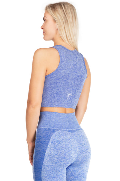 Melange Blue Seamless Crop Top