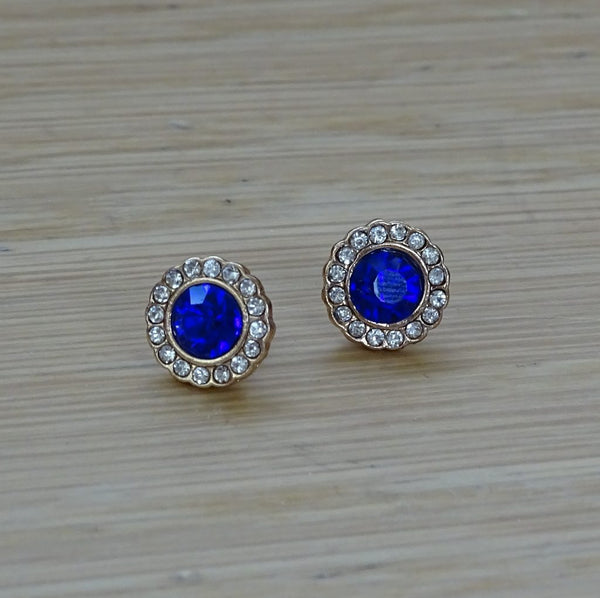 Classic Diamante Stud Earrings (Royal Blue)