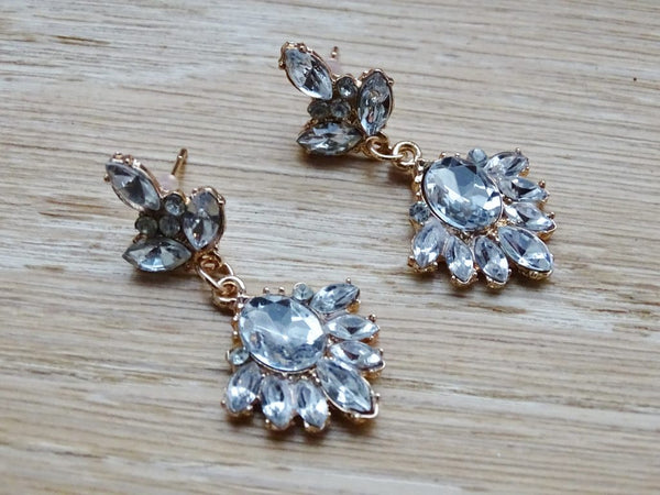 Clear Crystal Sparkling Flower Earrings