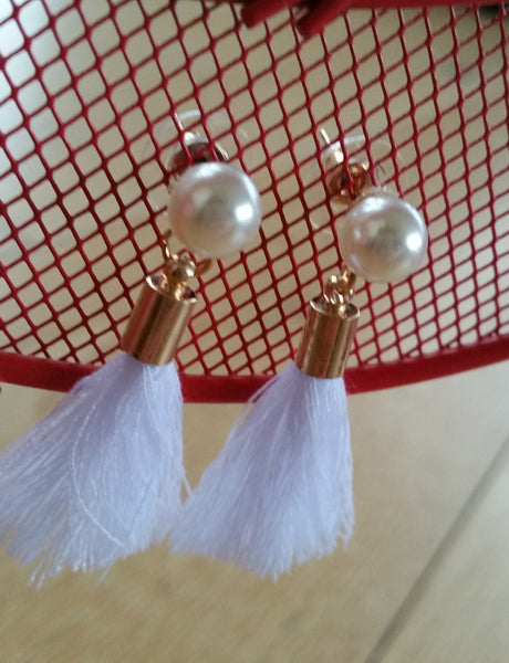 Pearl & Tassel Earrings (White)