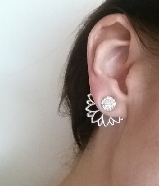 Sparkle Flower 3 Part Studs (Silver)
