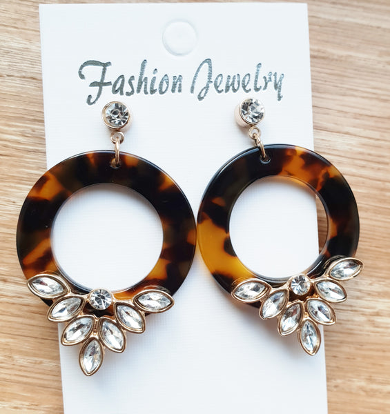 Tortoise Shell Bling Earrings