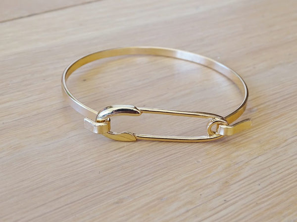 Goldtone Safety Pin Bangle