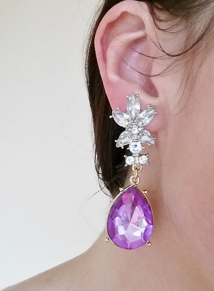 DENVER Crystal & Purple Drop Earrings