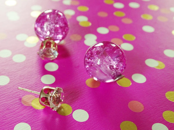 Double Sided Pink & Clear Glass Stud Earrings